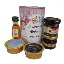 Lata con aceite de Oliva Virgen extra, mermelada, miel, queso azul y paté