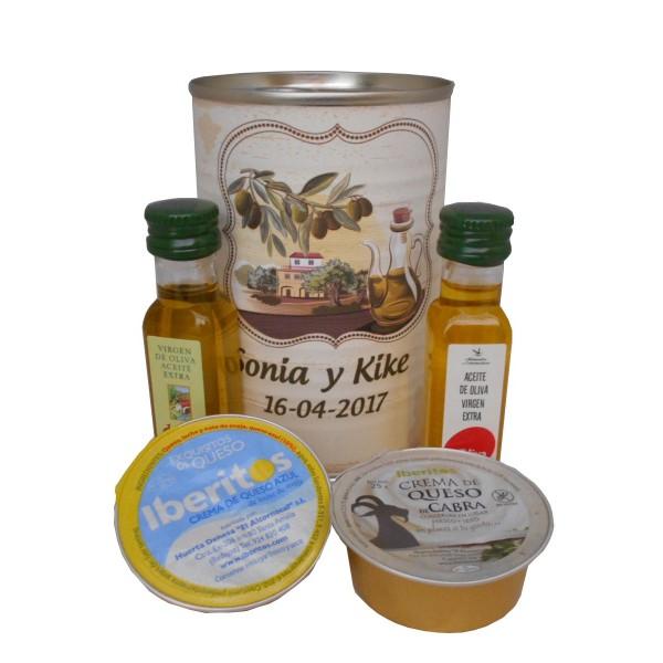 Lata con Aceite de Oliva Virgen extra, Aceite de Oliva Virgen ecológica, queso de cabra y queso azul