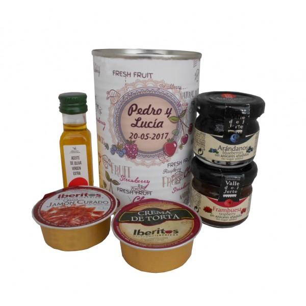 Lata con Aceite de Oliva Virgen extra, Mermelada, queso de torta y crema de jamón