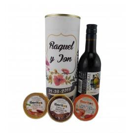 Lata PERSONALIZADA con vino Mayoral con crema de chorizo a la sidra, crema de lomo curado y crema de morcilla
