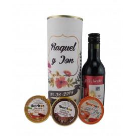 Lata PERSONALIZADA con vino tnto Pata Negra con crema de chorizo a la sidra, crema de lomo curado y crema de morcilla