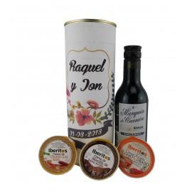 Lata PERSONALIZADA con vino tinto Marqués de Carrión con crema de chorizo a la sidra, crema de lomo curado y crema de morcilla