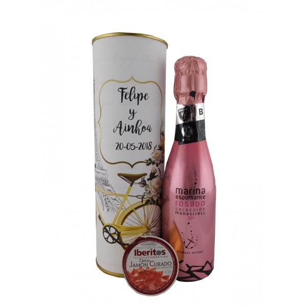 Lata con vino espumoso rosado con tarrina de jamón curado