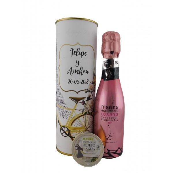 Lata con vino espumoso rosado con tarrina de queso de cabra