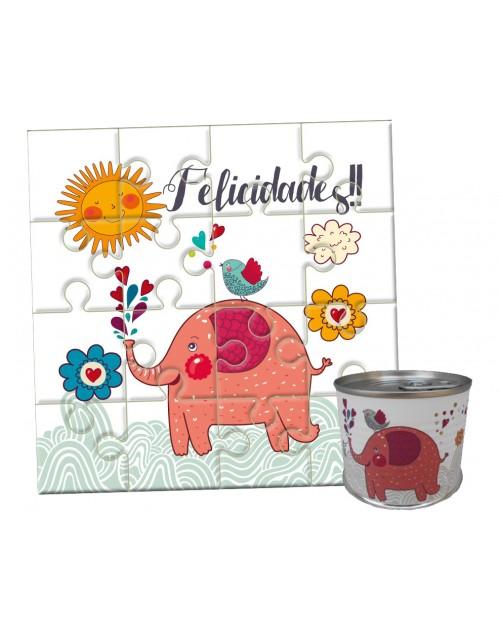 Puzzle cumpleaños elefante en lata