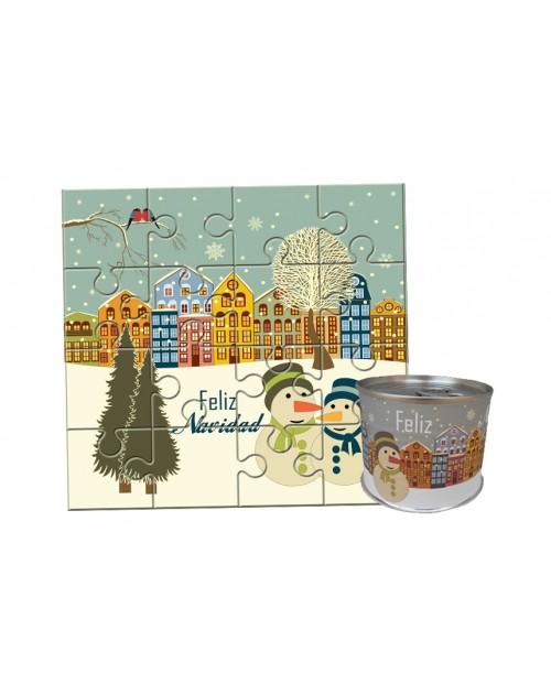 """Puzzle Navidad con la frase """"Feliz Navidad"""" en lata"""