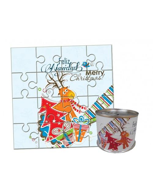 Puzzle Navidad Reno y Árbol en lata