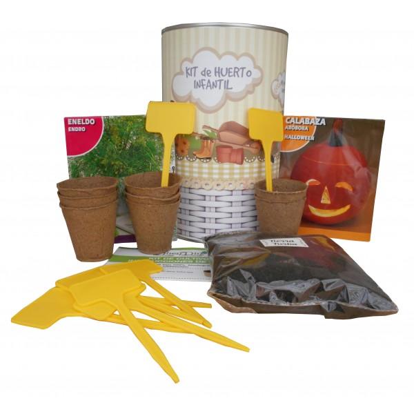 Kit de huerto infantil con semilleros, tierra turba, semillas Calabaza, semillas Eneldo y marcaje de semilleros