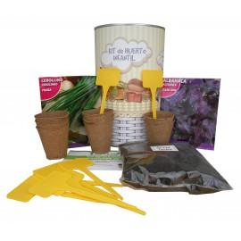 Kit de huerto infantil con semilleros, tierra turba, semillas Albahaca, semillas Cebollino y marcaje de semilleros