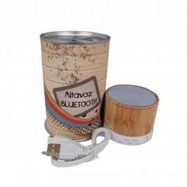 Altavoz Bluetooth de bambú en lata