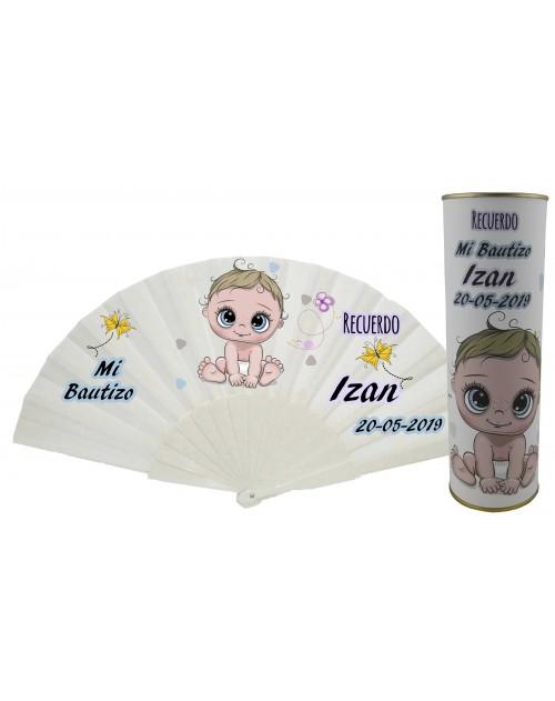 Abanico de varillas de plastico PERSONALIZADO Bautizo niño en lata