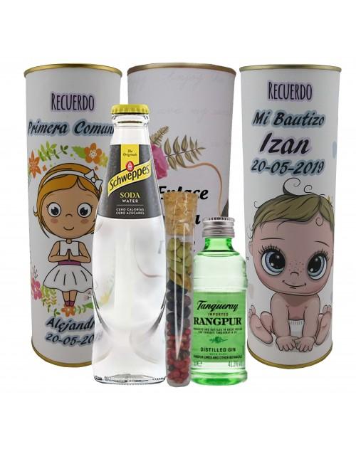 Pack de Gin Tonic Schweppes ORIGINAL con Ginebra Tanqueray RANGPUR en lata PERSONALIZADA