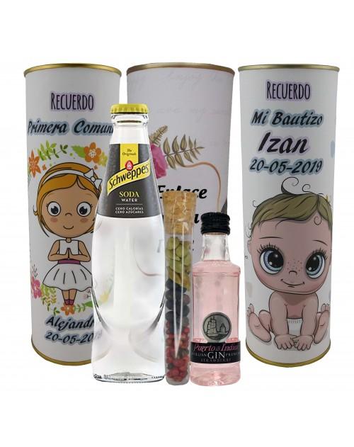Pack de Gin Tonic Schweppes ORIGINAL con Ginebra PUERTO DE INDIAS FRESA en lata PERSONALIZADA