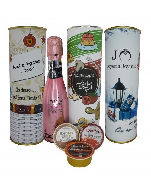 Lata PERSONALIZADA con vino espumoso rosado con jamon curado, pate Cachuela y crema de morcilla Santa Amalia
