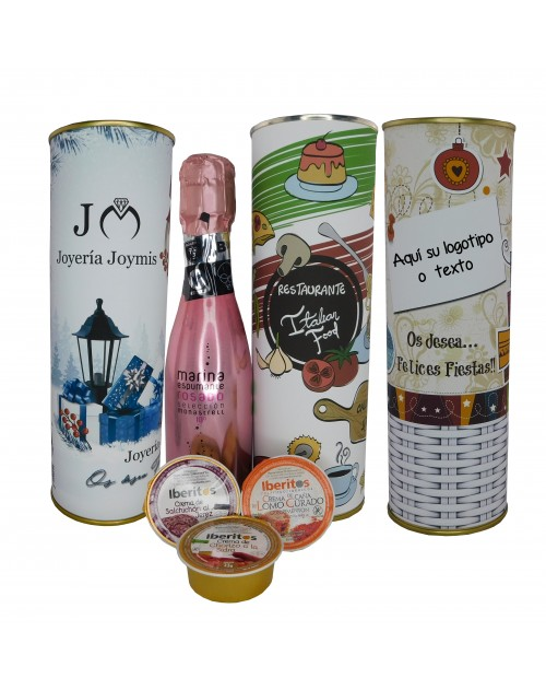Lata PERSONALIZADA con vino espumoso rosado con crema de salchichon, crema de caña lomo curado y chorizo a la sidra
