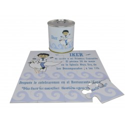 Invitacion Comunion niño paloma puzzle con texto en lata personalizada