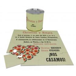 Invitacion de boda corazon flores en lata personalizada