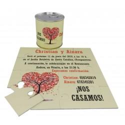 Invitacion de boda en puzzle arbol corazon con lata personalizada