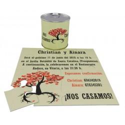 Invitacion de boda arbol con hojas corazones en puzzle personalizado con lata personalizada