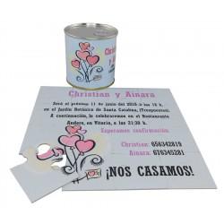 Invitacion de boda corazones en puzzle personalizado con lata personalizada