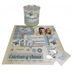 Invitacion de boda con foto mariposas en puzzle y lata PERSONALIZADA