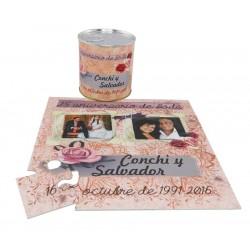 Invitacion 25 aniversario con fotos de boda en puzzle con lata PERSONALIZADA