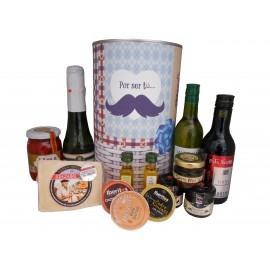 Lata personalizada para regalo hombre con abre fácil con productos gourmet
